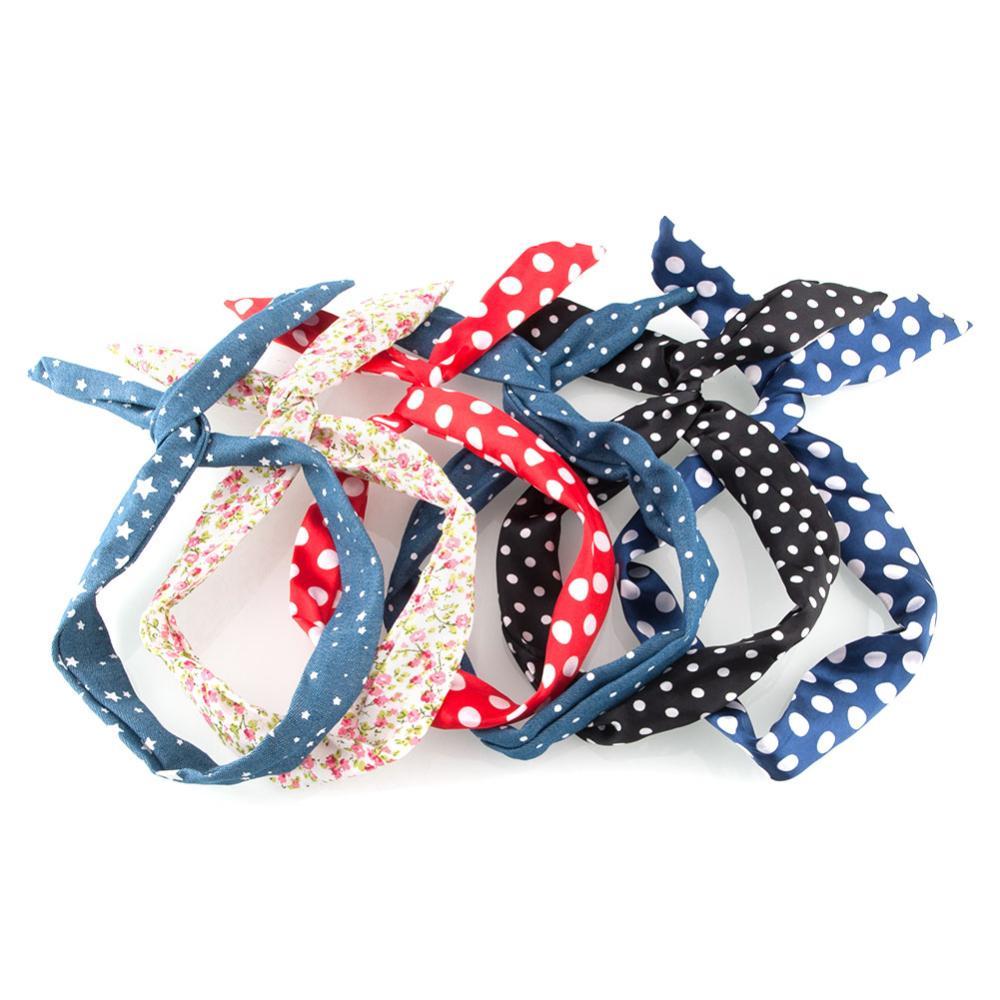 Hot New Retro Wire Bendy Headband Hair Blue Scarf Band Big Dot Beauty Accesory free shipping(China (Mainland))