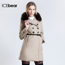 ICEbear 2015 New Winter Women Long Fur Collars Down Fashion Silm Warm Jacket Coat Have Big Yards AY336(China (Mainland))