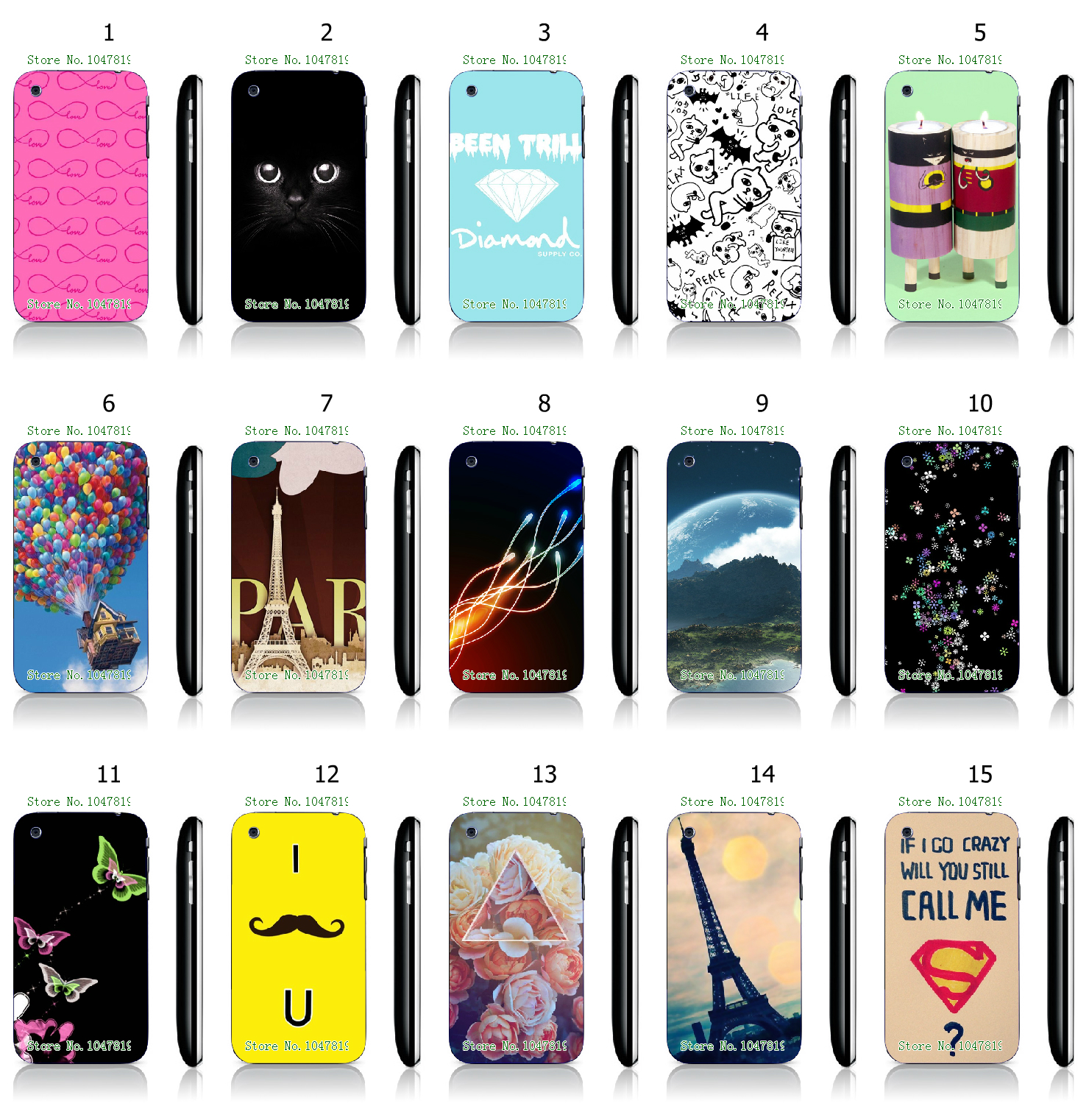 Cool Style Balloon Art Pattern White Hard Plastic Case Cover for iPhone 3 3GS(China (Mainland))