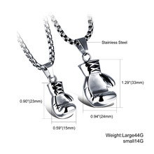 Sporty Stainless Steel Mini Boxing Glove Necklace Boxing Jewelry Color Gold Silver Black Pendant For Men