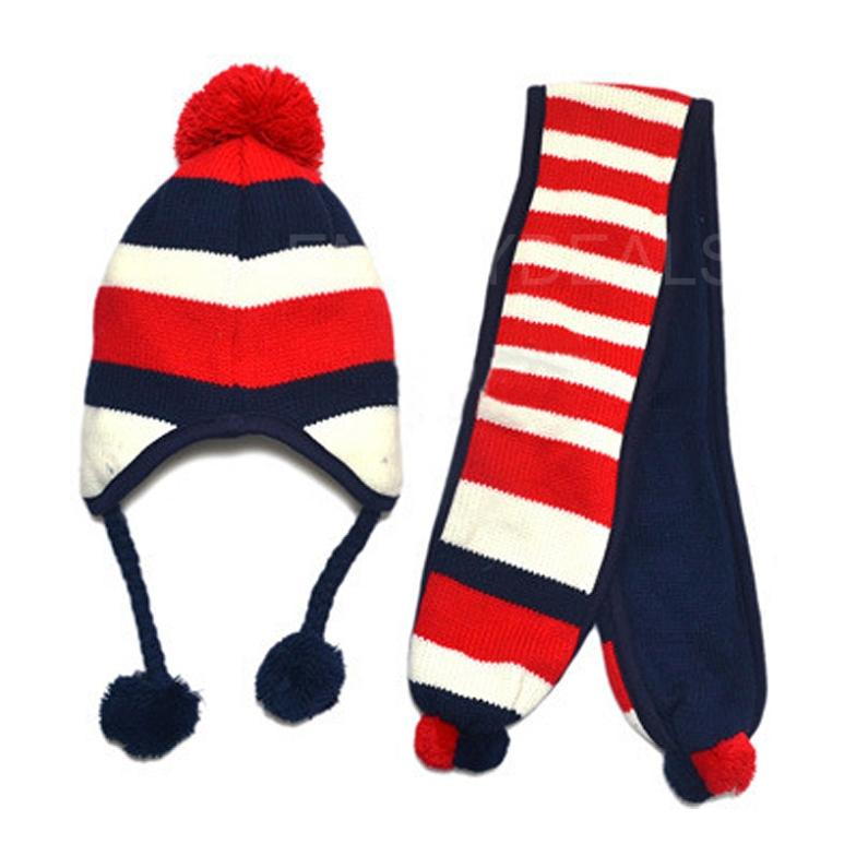 New Fashion Cute Kids Winter Warm Hat Children Cap and Scarf 2 in 1 Set TOP