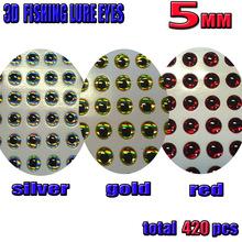 2016 3D fishing lure eyes fly eyes mix color silver 140pcs+gold 140pcs+red 140pcs total 420pcs/lot size:5MM