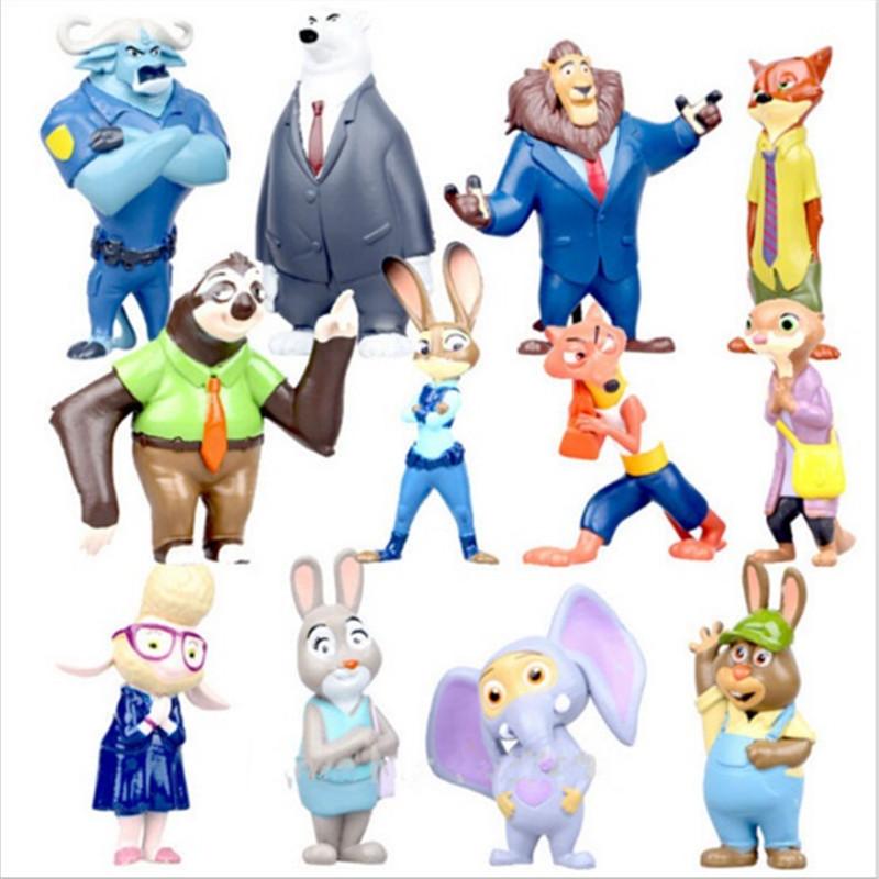 12 pcs/set Cartoon Animal Movie Zootopia Toys 4-8cm PVC Model Zootopia Figures Nick Wilde Judy Hopps Rabbit Baby Kids Toys(China (Mainland))