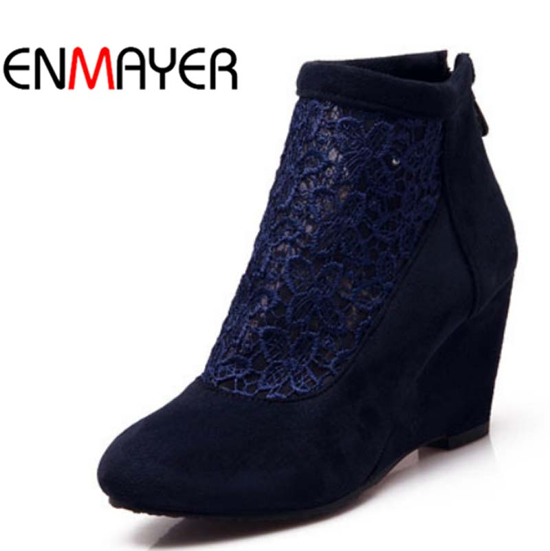 ENMAYER Fashion Women Boots Pointed Toe Wedges Zip Basic Senior Scrub