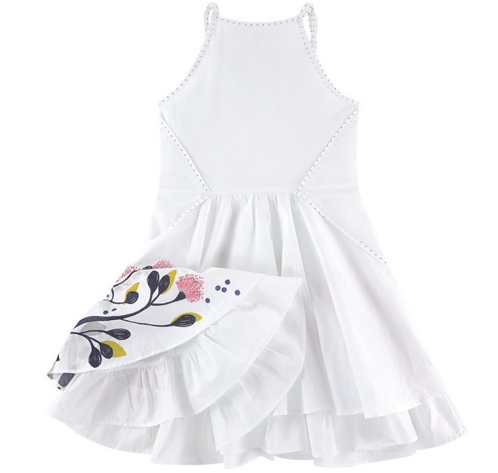Скидки на Catimini девушки платья летние 2016 девочка печать ребенок платье без рукавов бренд catimini девушки одежда 2
