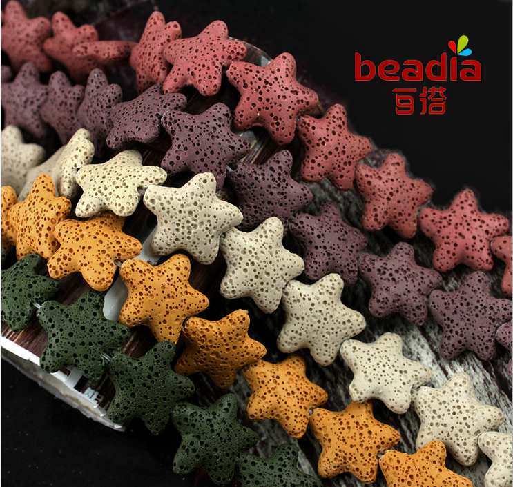 26mm star shape colorful volcanic lava for DIY jewelry element necklace bracelet(China (Mainland))