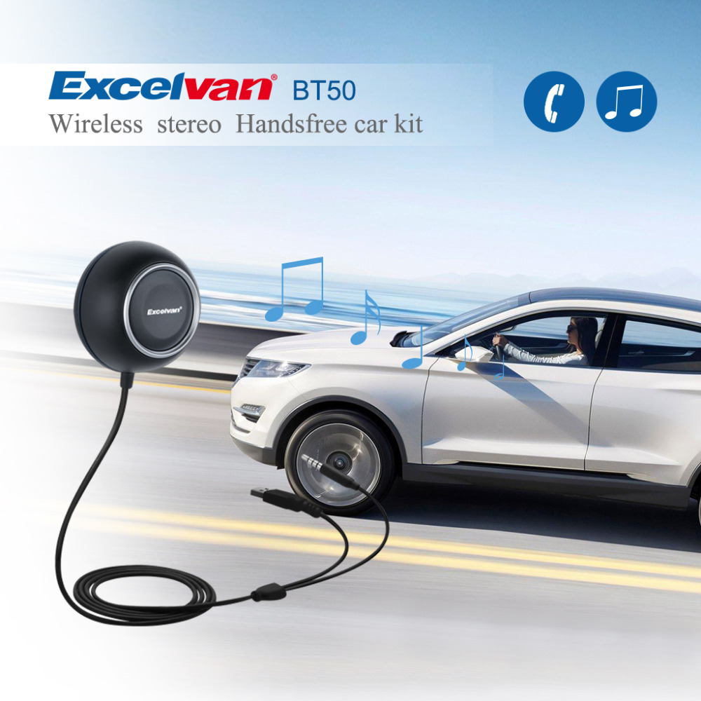 Excelvan BT50 Car Kit Bluetooth 4.0 Handsfree Stereo Music Audio Receiver Adapter Built in Mic with Knob Elasticity Adjustment(China (Mainland))