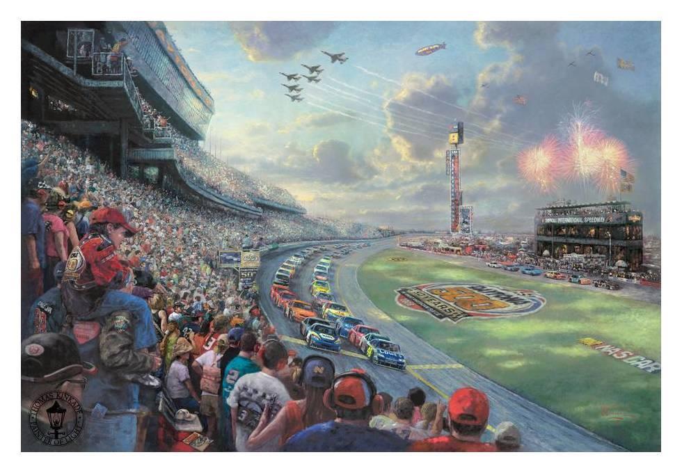 Thomas Kinkade HD print oil painting Wall Decor Art on canvas(No frame) NASCAR THUNDER Talladega 12x18(China (Mainland))