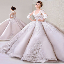 Luxury Lace Ball Gown Wedding Dress 2016 Fashion V Neck Long Sleeve Cathedral Train Wedding Gowns Latest Muslim Vestido De Noiva(China (Mainland))