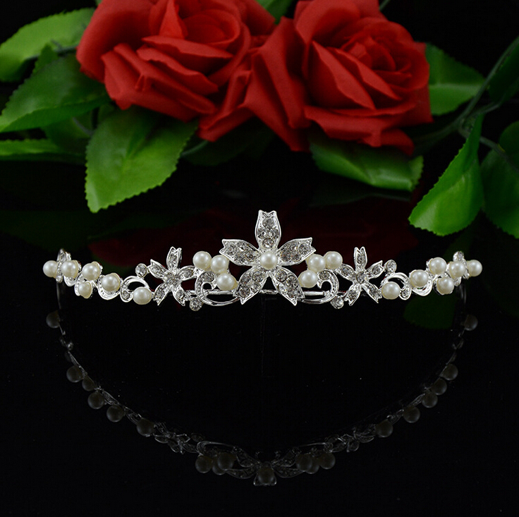 Hot sale Romantic pearl crystal bridal tiaras red crystal wedding diadem fashion crown hair jewelry accessories(China (Mainland))