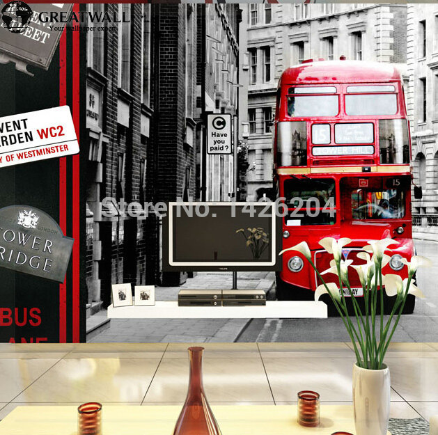 Great wall European British double-decker bus photo wallpapers murals city black and white of 3d large landscape wallpaper livin(China (Mainland))
