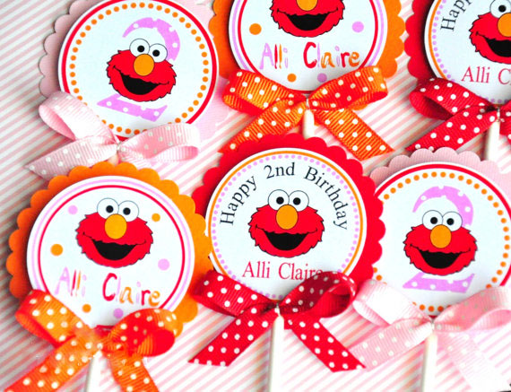 Elmo Cupcake Toppers Birthday Party Decorations Supplies Kids
