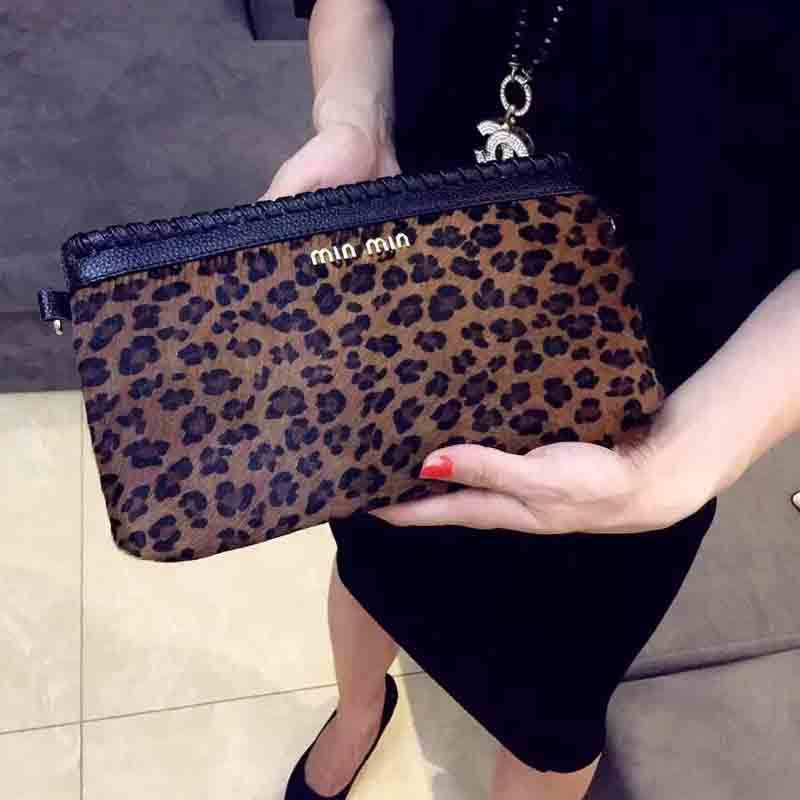 Woman Fashion Classic Brand Leopard Print Genuine Leather Handbags Evening Messenger Bags Ladies Day Clutches Female Wallet(China (Mainland))