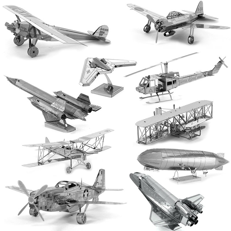 3D Metal Puzzles for children Adults Model Toys Jigsaw Metal Bpeomg AH64 Apache B17 flying fortress F22 Raptor puzzles Chinook(China (Mainland))