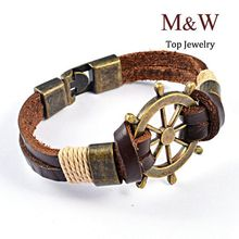 High Quality New 2015 Fashion Jewelry Vintage Stainless Steel Rudder Charm Genuine Cow Leather Bracelet For Men Party Gift(China (Mainland))