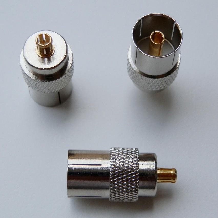1pcs New IEC DVB-T TV PAL female jack to MCX male plug RF coax Antenna adapter connector(China (Mainland))