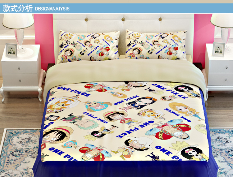 One piece anime bedding King Queen Twin Sling size 100 cotton boys comorter/quilt Cover flat sheet and pillowcases(China (Mainland))
