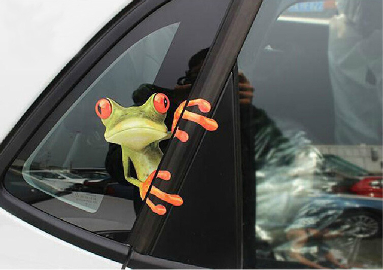 Moodeosa 3D Peep Frog Funny Car Stickers Truck Window Decal Graphics Sticker Freeshipping(China (Mainland))