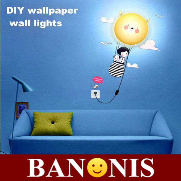 DIY girl wallpaper wall lights, home decorative lighting, warm and funny children's room puzzle lamp, novelty gadget, 28*28*7CM(China (Mainland))