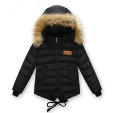 Roupa masculina infantil inverno jaqueta 2016 para baixo algodão amassado jaqueta de algodão-acolchoado espessamento meninos meninas engrossar casaco Com Capuz