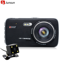 Junsun Car DVR Full HD 1080P Dual Lens With rear view camera support Front car distance warning dash camera AIT8328P(China (Mainland))