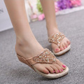 Korean Wedged Sandals Rhinestone 2015 New Summer Flip Flops Casual Thong Sandals Women