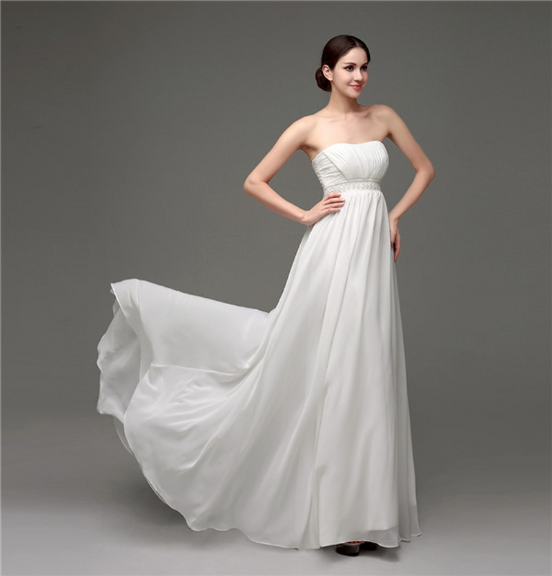 Elegant cheap summer beach wedding dresses strapless for Strapless summer wedding dresses