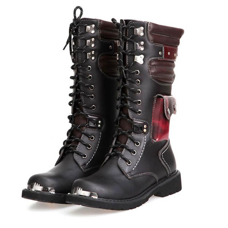 Wearproof Play Rock Height Increase Half Knee High Punk Bandage Men Biker Tactical Motorcycle Winter Boots Sequined Platform<br><br>Aliexpress
