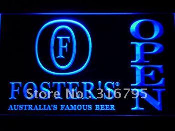 028-b Foster Beer OPEN Bar LED Neon Light Sign