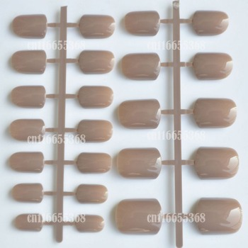 Shine Light Chocolate Color Brown 24 Pcs Sweet Candy Short Artificial False Fake Nails Full Wrapped Tips P57