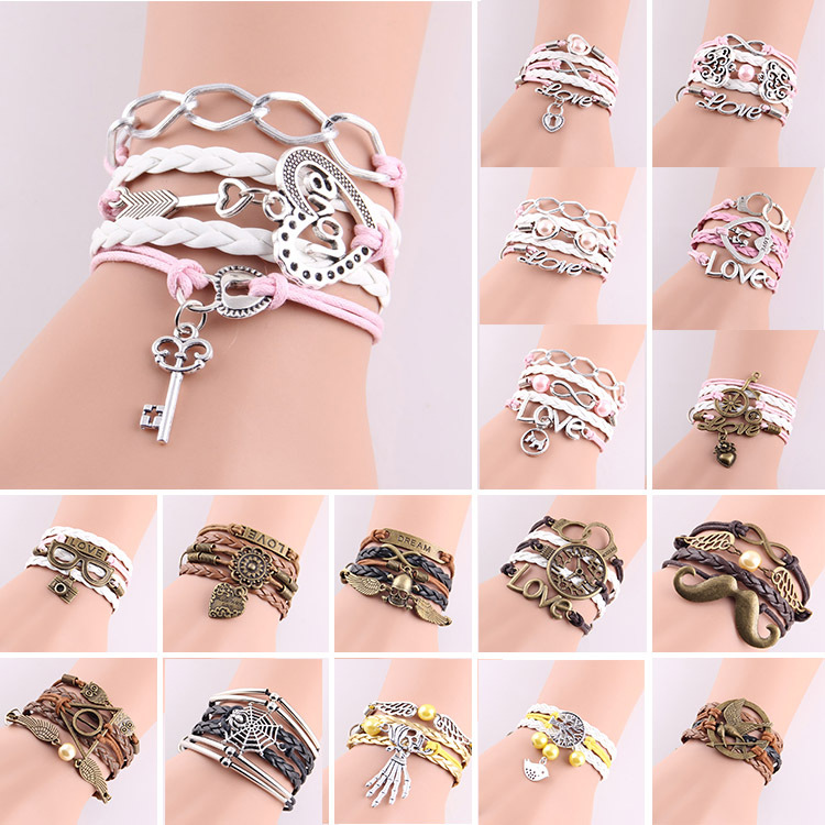 New Fashion Womens lock hearts & key hunger games birds charm Bracelet Infinity pink pearl love Leather wrap bracelets & bangles(China (Mainland))