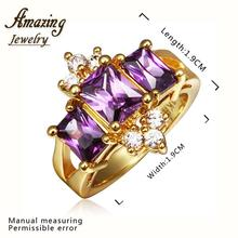 Fashion Jewelry vintage big crystal CZ diamond ruby crown 18K rose Gold Plated lord of the