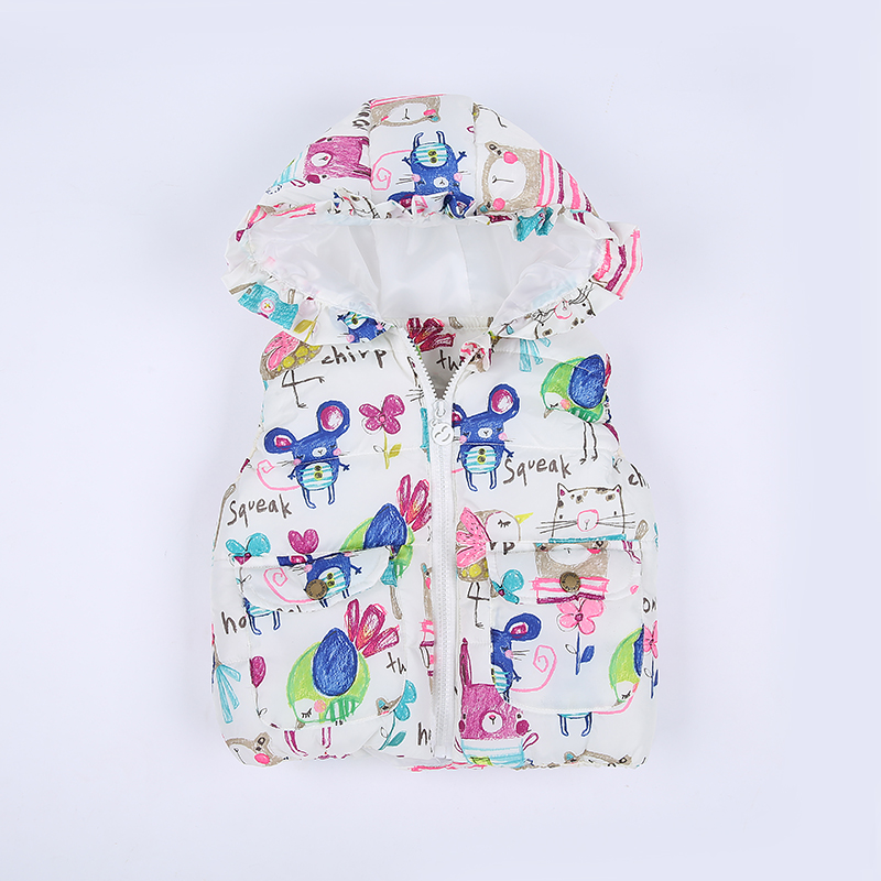 Hot sale!2016 Autumn&Winter Outerwear&Coats Graffiti Princess Toddler Girls Vest Hooded Kids Jackets Baby Girl Waistcoat TN141(China (Mainland))