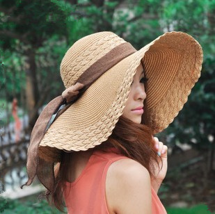 Simple Women Large Brimmed Summer Hats,Delicate Bow knot Sun Hats For Women Casual Dress,Cheapest women sun Hats,Free Ship(China (Mainland))