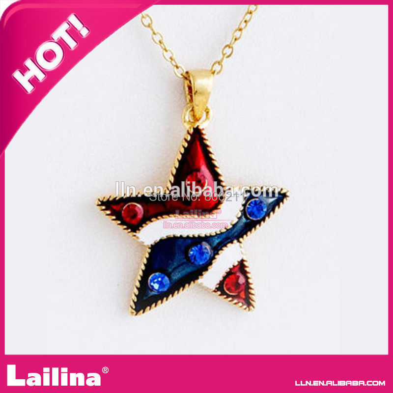 4th July Star Shape Flag Rhinestone Necklace Pendant Charms - Lailina Jewelry Co., Ltd store