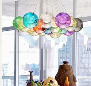 fashion lighting DIY colorful crystal glass pendant light creative design pendant lamps for living room bar decor led G4 AC 96-2(China (Mainland))