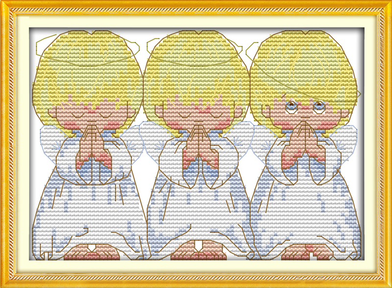 The Pray Little Angels Counted 11CT 14CT DMC Cross Stitch DIY New Dimension Cross Stitch Kits for Embroidery Needlework Crafts(China (Mainland))