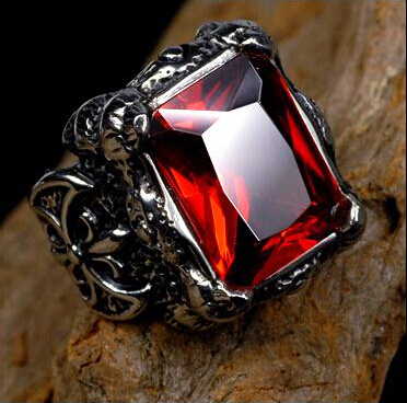 Punk Gothic Real stainless steel Ruby Ring Men's big red stones Finger Rings Titanium ring man - Yiwu Naou Crafts Firm store