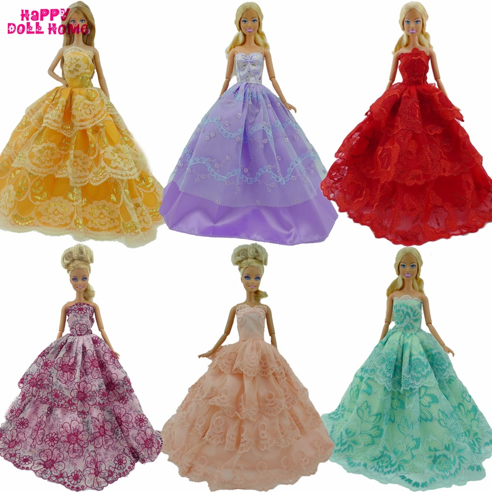 12 Gadgets = 6 Random Marriage ceremony Social gathering Robe Costume Garments + 6 Necklace Equipment For Barbie Doll FR Kurhn Youngsters Toys Christmas Present