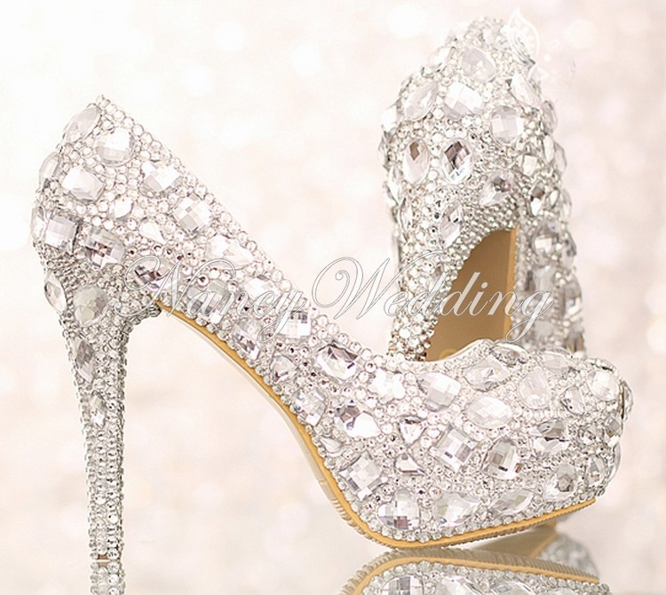 Luxury Crystal Silver Wedding Shoes High Heel Bridal Shoe with Platform Anniversary Party Nightclub Prom Shoes Bridesmaid Shoes