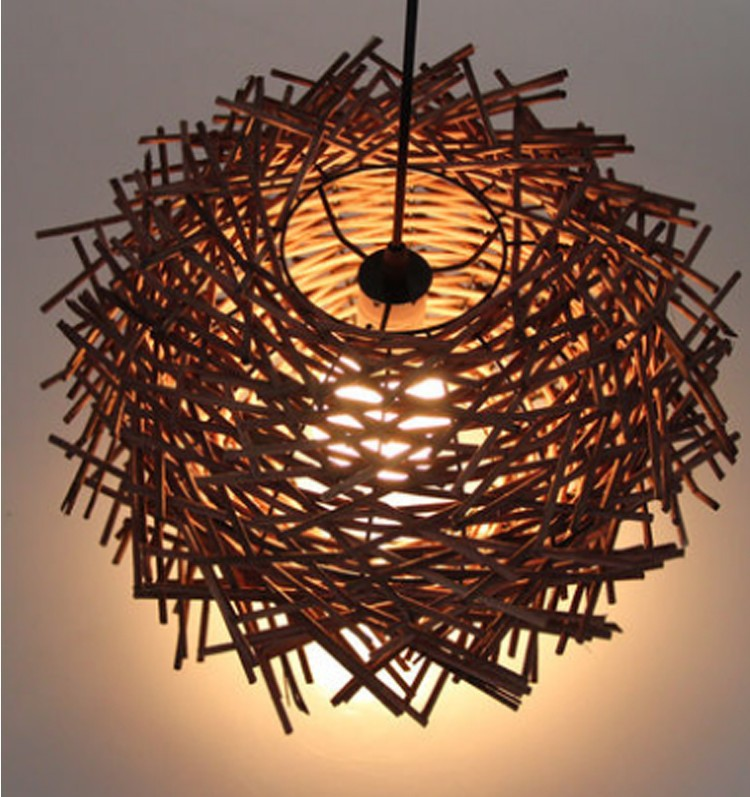 D50CM Modern Hand Made Bird Nest pure rattan wooden Stick pendant lamp suspension light home lighting original color/ coffee<br><br>Aliexpress