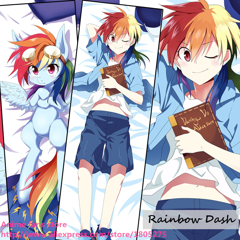 Cute Japanese Anime My Little Pony Rainbow Dash Lovely Dakimakura Pillow Case Cover decorative Hugging Body Bedding