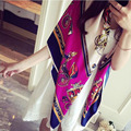 130 130CM Big Square Foulard Horse and Chain Pattern Women Scarves 2016 Luxury Brand Poncho Wraps