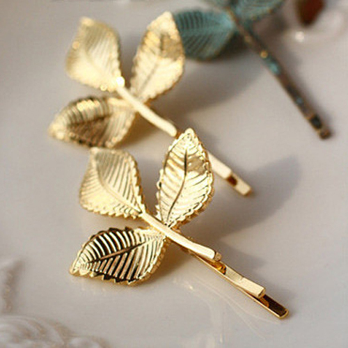 1 Pieces Elegant Europe and America Vintage Side Clip Leaves Hairpins Hair Jewelry Wholesale Accessories For Women 2015 Hot PD27