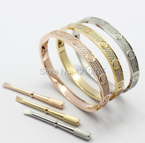 2015 Italian new fashion jewelry steel yellow/rose gold plated Austrian 5A zircon screw bangle with screwdriver for women(China (Mainland))