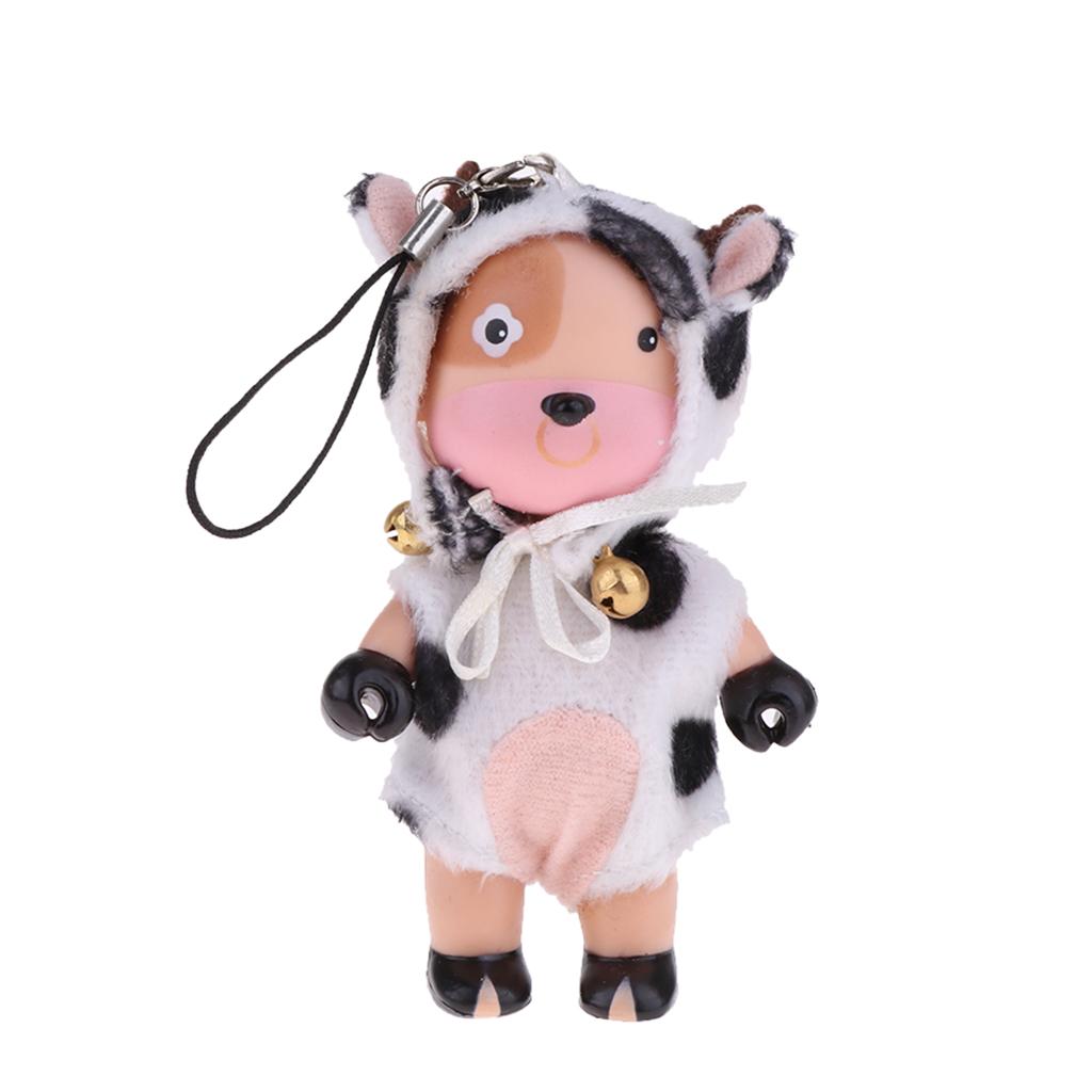 4inch Dollhouse Miniature Dolls Figures Soft Plastic Mini Cartoon Cow Baby Doll Cute Keychain Keyring Pendant Baby Doll Toys
