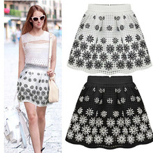 2016 new summer slim organza puff print elastic waist skirt informal tutu skirt bottoms kilt womens female skirt T7162