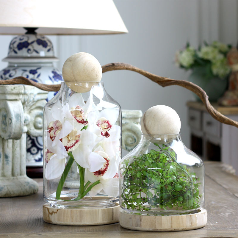 Home Decoration Deals Transparent Glass Vase Wood Pellets Wood Pallet Nordic Creative Crafts