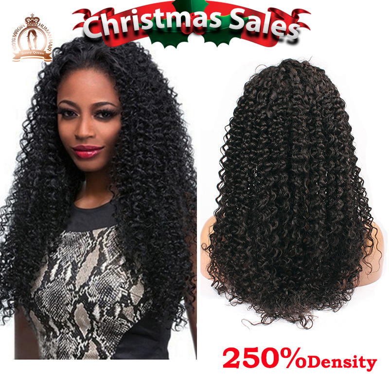 250% Density Glueless Full Lace Human Hair Wigs 6A Brazilian Virgin Hair Kinky Curly Lace Front Human Hair Wigs For Black Women