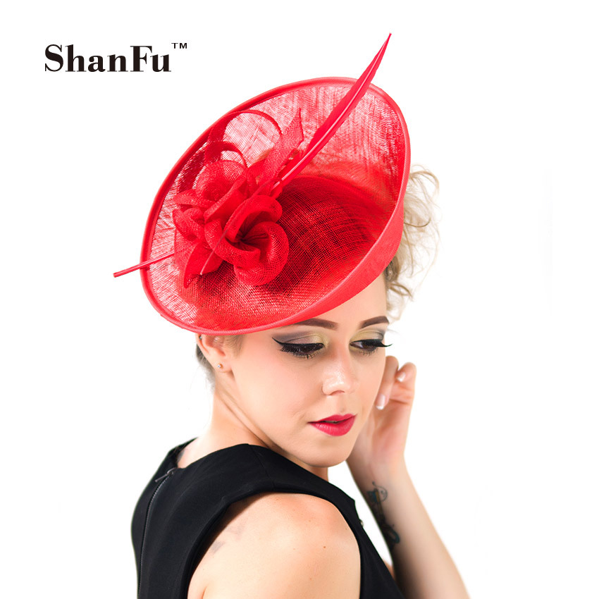 ShanFu Lady Fashion Sagittate Feather Fascinator Sinamay Wedding Hat with Headband Elegant Hair Accessories Royal Blue SFC12389(China (Mainland))